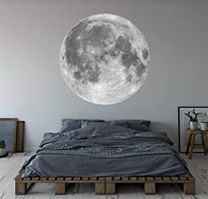 Moon Wall Decal Outer Space Moon Decal Wall Art Bedroom Custom Vinyl Wall Decor Removable ND04 (48