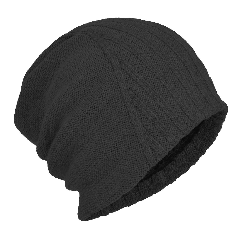 ed7bb256d9350 Janey Rubbins Winter Oversized Slouchy Style Beanie Fleece Lined Stocking  Skull Cap Knit Ski Hat (Black) at Amazon Men s Clothing store