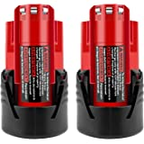 ADVTRONICS 2 Pack 12V 3.0Ah Lithium-ion Battery Compatible with Milwaukee M12 48-11-2411 48-11-2420 48-11-2401 48-11-2402 48-