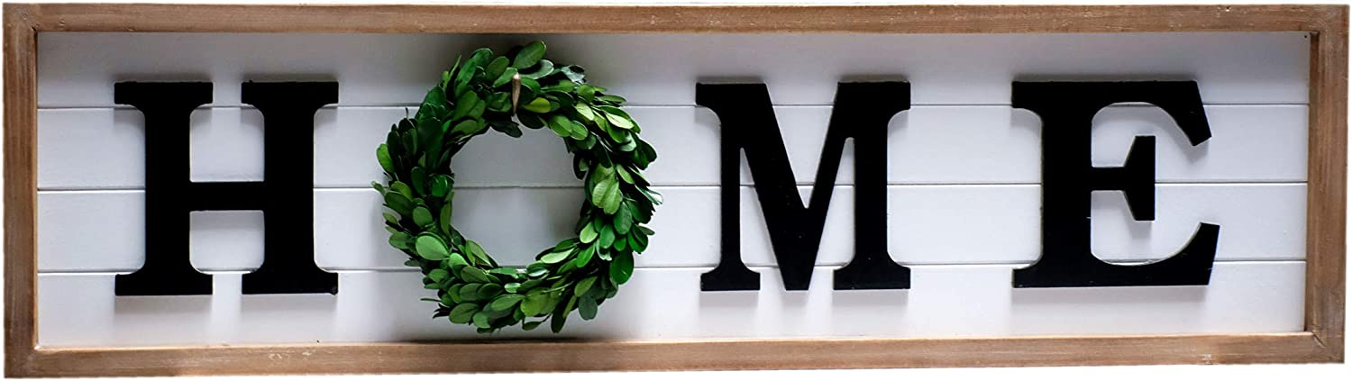 SIMPLY ANI Rustic Home Sign with Wreath for The O|Framed Farmhouse Wood Wall Sign Plaque|Gallery Wall Hanging Decor, Rustic Farmhouse Home Decor|Shiplap Signs|Wooden Home Plaque|Fixer Upper