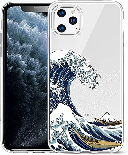 Unov Coque pour iPhone 11 Pro Max Transparent avec design fin et souple en TPU Motif gaufré 6,5 pouces (Great Wave)