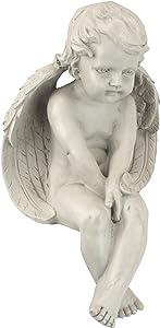 Design Toscano JE101261 Angel of Meditation Shelf Sitting Statue, 13 Inch, Polyresin, Antique Stone