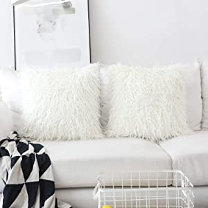 Home Brilliant Set of 2 Decorative New Luxury Series Merino Style Off White Fur Throw Pillow Case Cushion Cover 18 x 18 Inch 45cm x 45cm