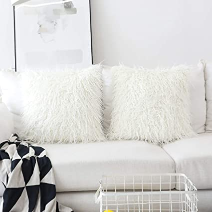 Astounding Home Brilliant Set Of 2 Decorative New Luxury Series Merino Style Off White Fur Throw Pillow Case Cushion Cover 18 X 18 45Cm X 45Cm Alphanode Cool Chair Designs And Ideas Alphanodeonline