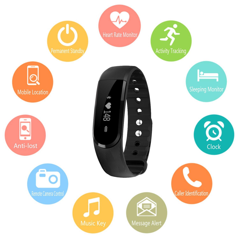 COOSA ID107 MEJOR inteligente Pulsera Deportes Reloj de Pulsera de Actividad Teléfono Celular Mate con Podómetro Sleep Monitor Sueño Cámara Remota Bluetooth ...