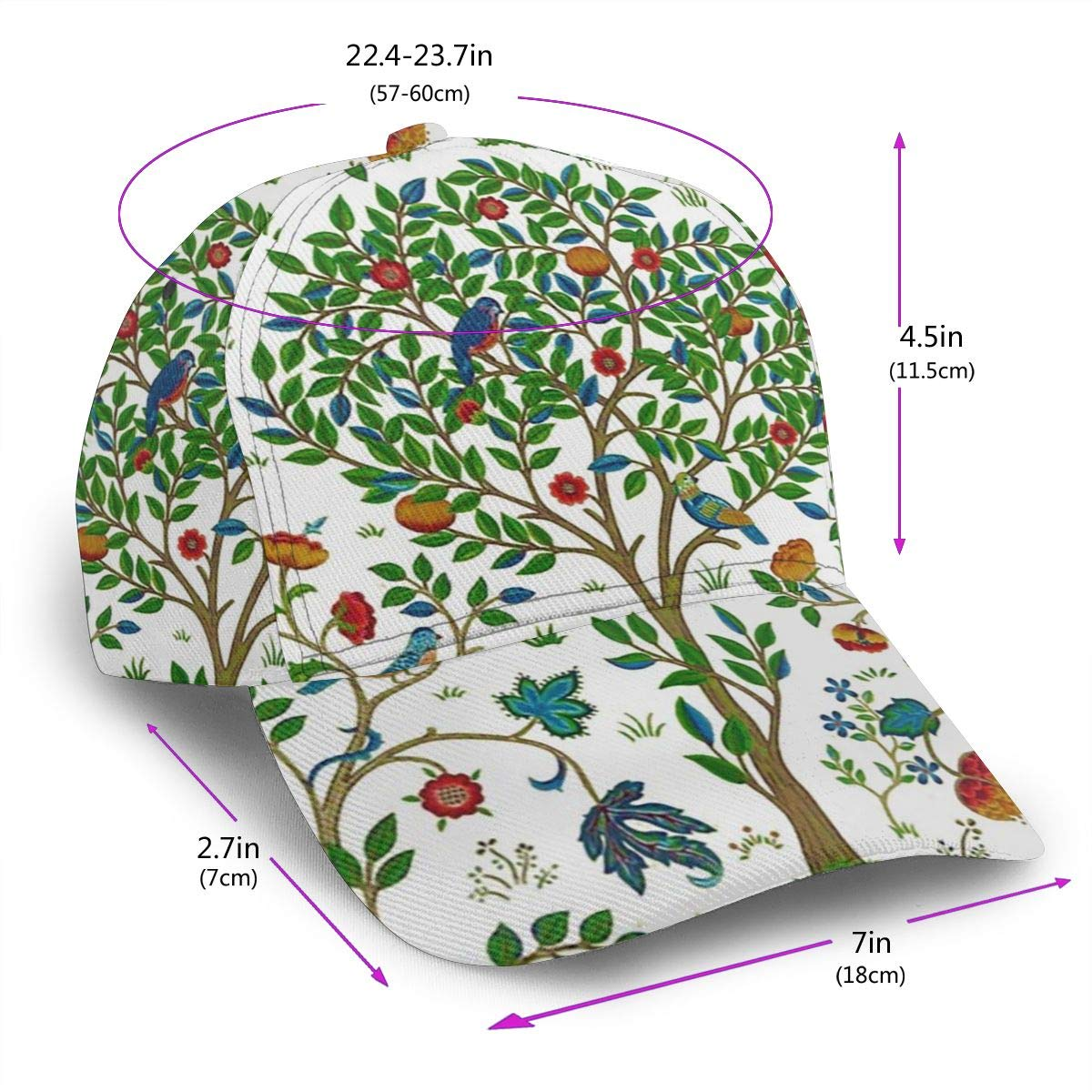 Tree Birds Flowers Girl Fashion Adjustable Flat Brim Baseball Cap Black