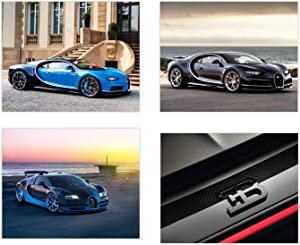 Insire Bugatti Poster Wall Art | Set of Four 8x10 Sports Car Art | Chiron | Veyron Exotic Car Posters