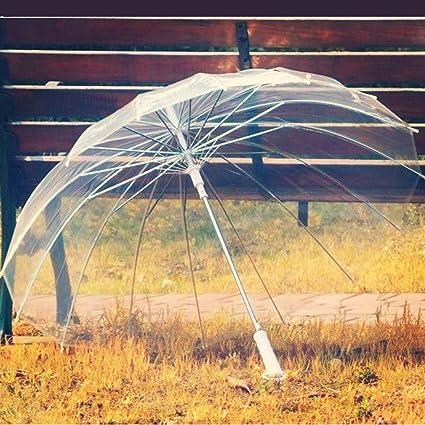 Guo 16 de hueso, hombres y mujeres retro paraguas transparente largo paraguas Paraguas Paraguas creativa