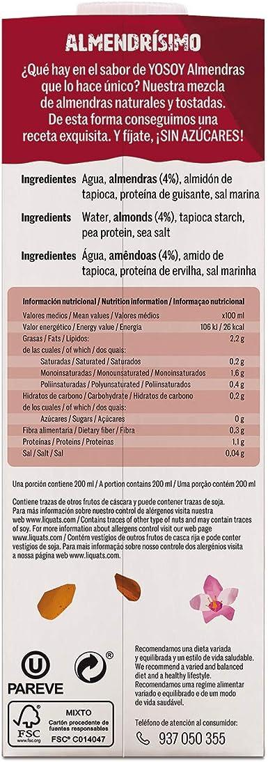 Yosoy - Bebida Vegetal de Almendras sin Azúcar - Caja de 6 x ...