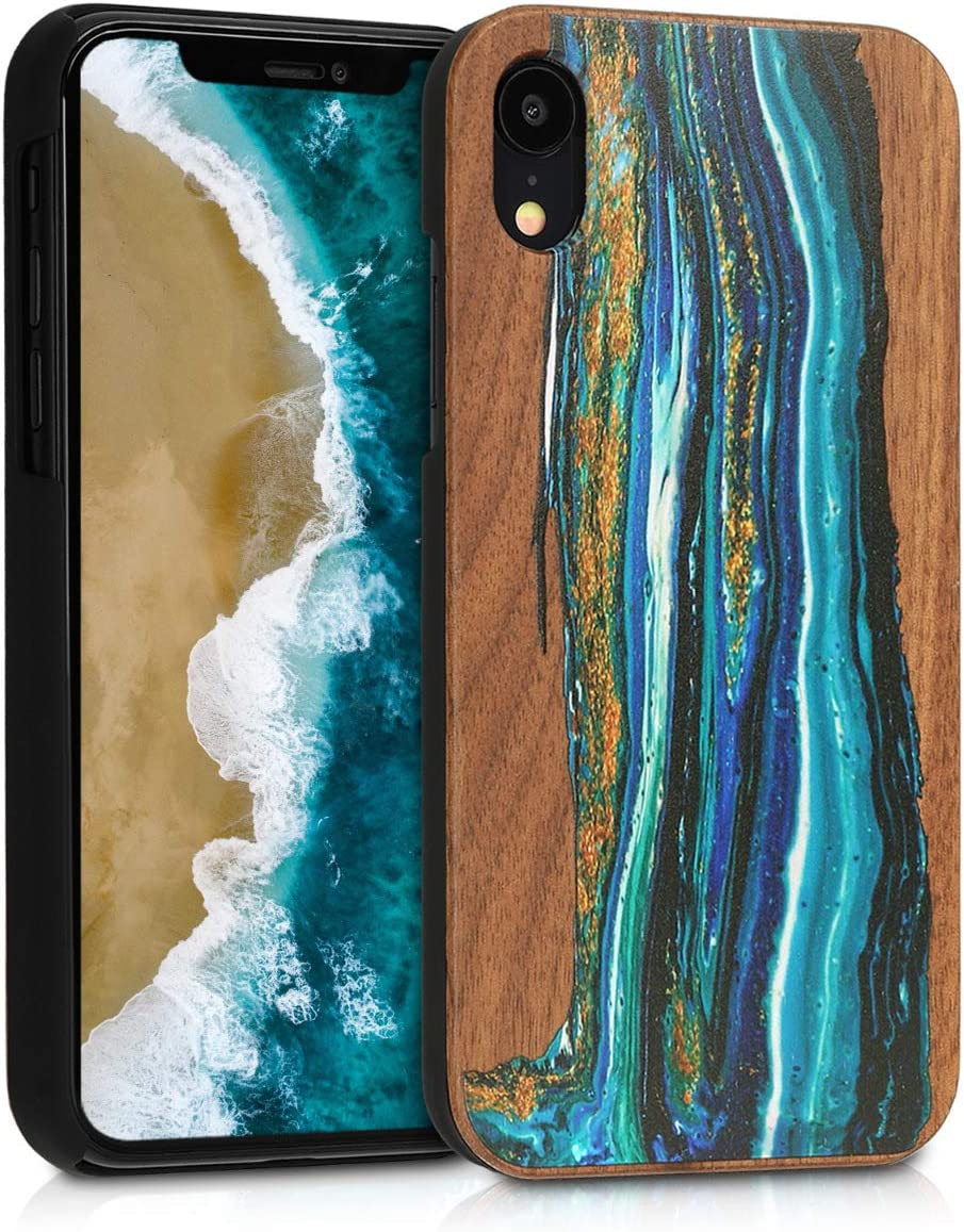 kwmobile Wood Case Compatible with Apple iPhone XR - Non-Slip Natural Solid Hard Wooden Protective Cover - Watercolor Waves Blue/Brown