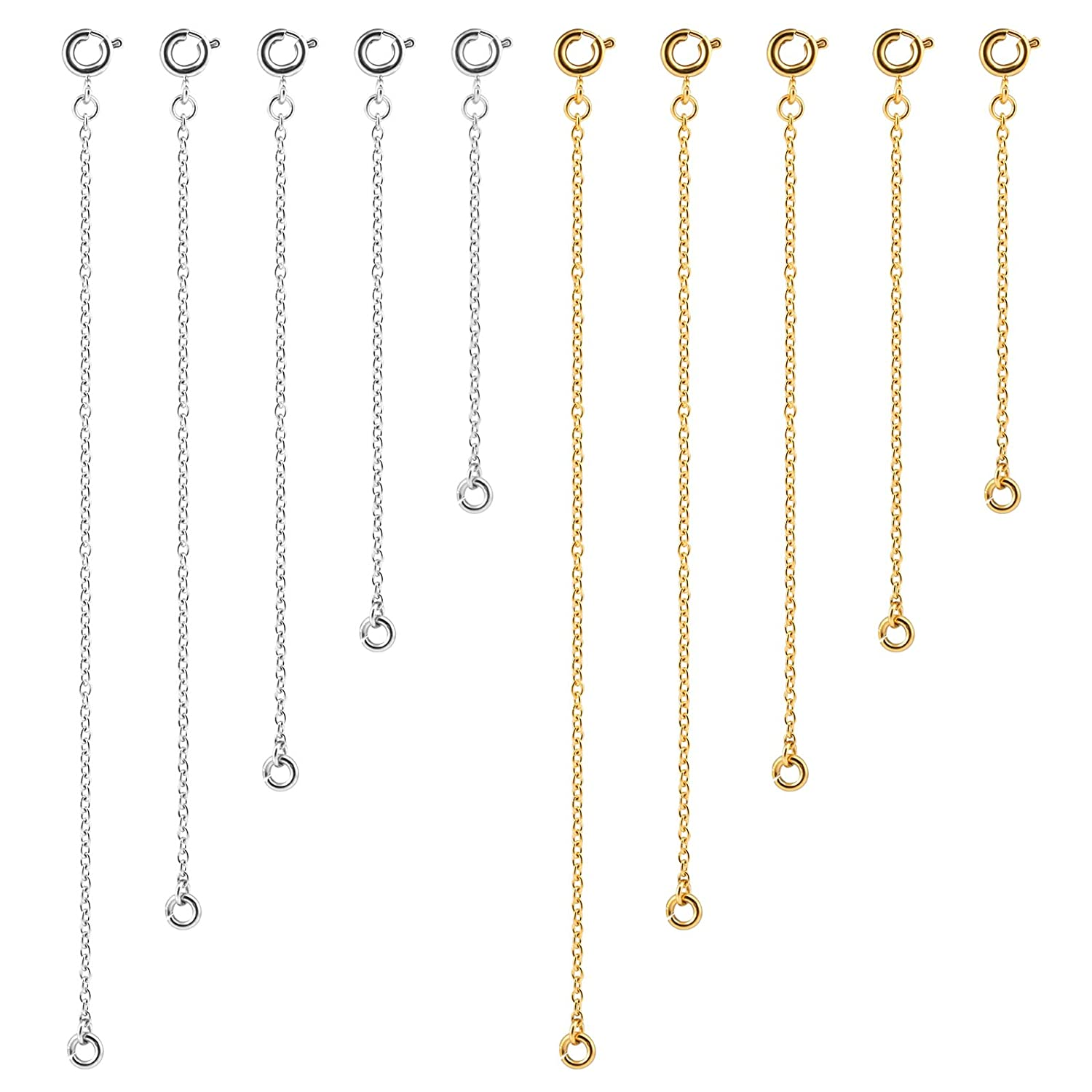Naler 10pcs Extender Chains, 2/3/4/5/6 inches Stainless Steel Bracelet Necklace Extender Chain with Slingshot Buckle Safety Chain Jewellery, Gold Plated/Silver Plated Naler162