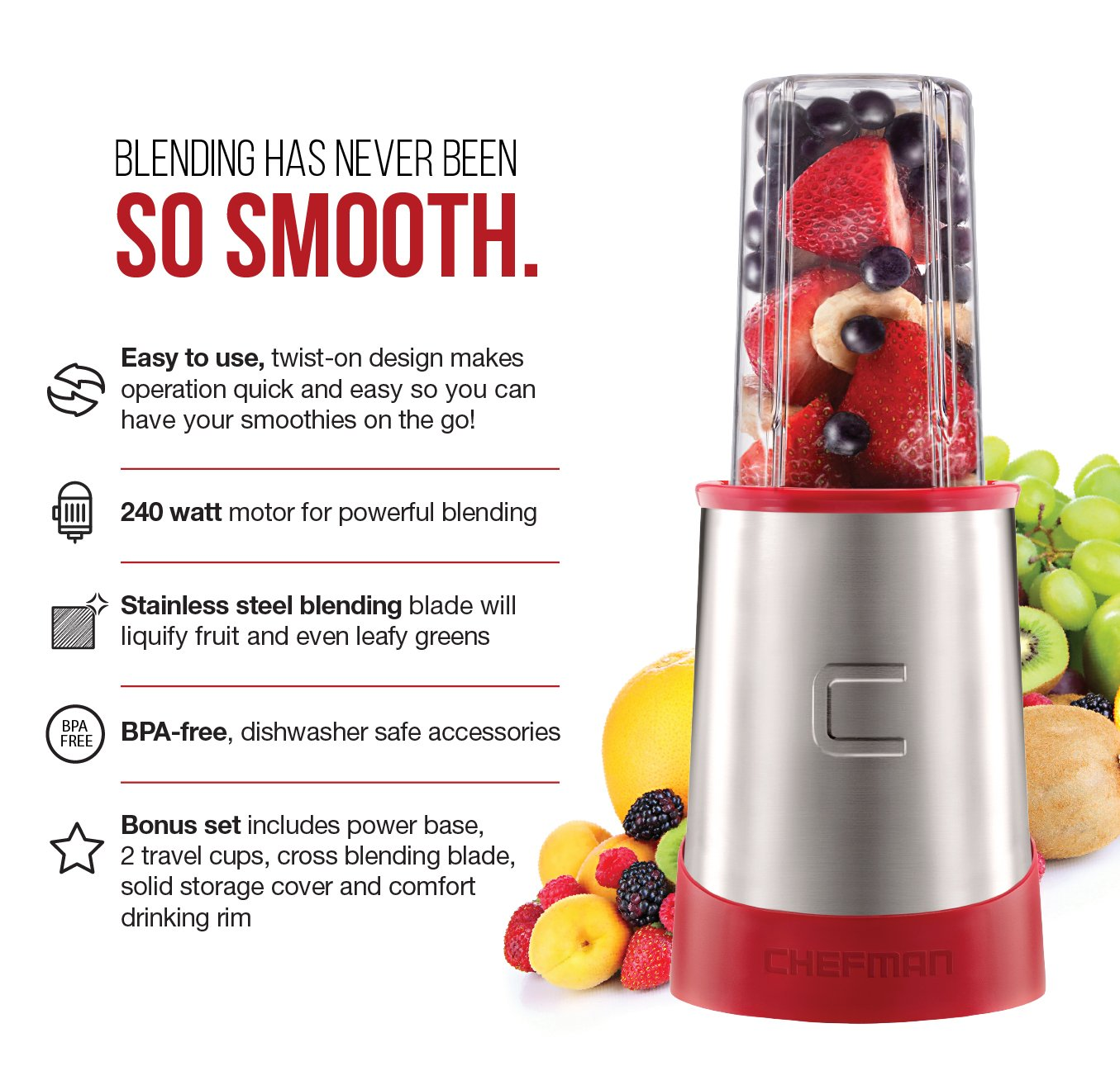 Chefman Ultimate Personal Smoothie Blender, Single Serve, Stainless Steel Blending Blade, 2 Travel Cups with Lids, Solid Storage Cover and Comfort Drinking Rim, 6 Piece - RJ28-6-SS-Red by Chefman (Image #2)