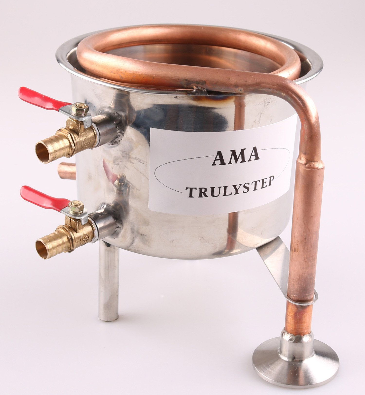 Spare Parts For 2 Pots Moonshine still / Distiller Brewing Kit : Stainless Steel / Copper Coil Cooling Pot (Copper, 2 Gallon 10 Litres)