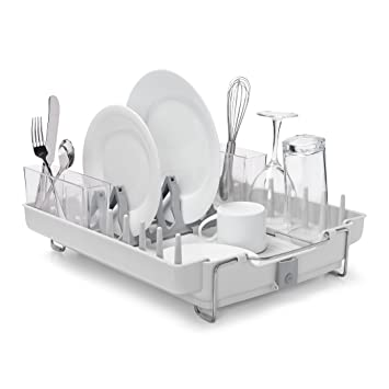 Good OXO Good Grips Convertible Foldaway Dish Rack, Stainless Steel