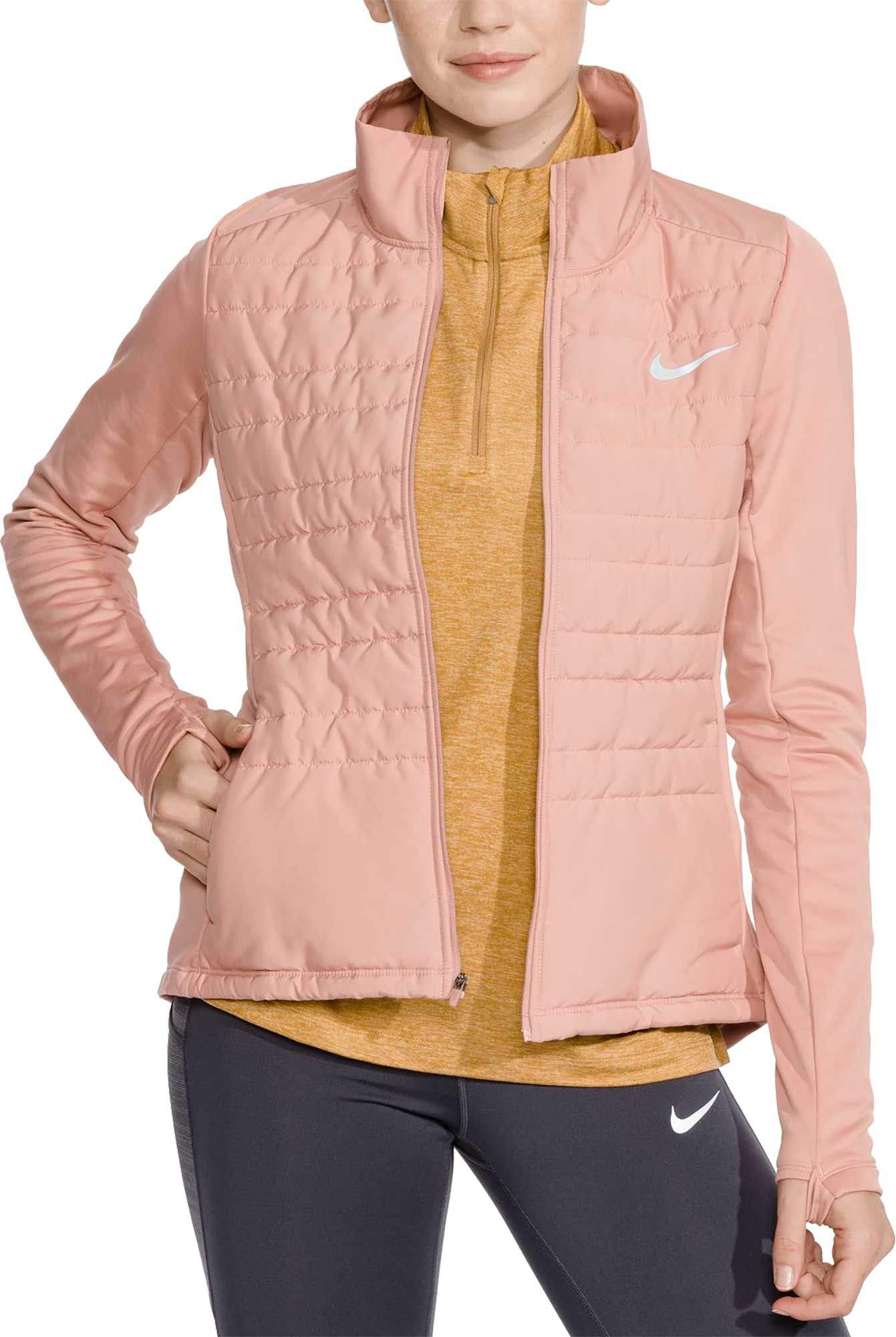 NIKE Women's Essential Full Zip Running Jacket (Rust Pink, Medium)