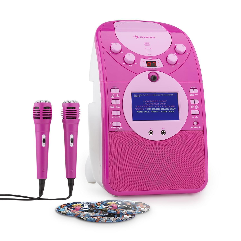 auna ScreenStar • Kinder Karaoke Player • Karaoke Set • Karaoke Anlage • TFT-Display • 3 x Karaoke-CD • 2 x Mikrofon • Front-Kamera • Lautsprecher • CD+G-Player • MP3-fähiger USB-Port • pink