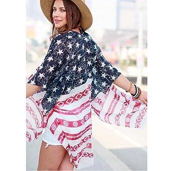 DEELIN Camisa Estampada De La Bandera Americana De Las Mujeres Camisa De La Rebeca Larga De Manga Corta Gasa Suelta: Amazon.es: Ropa y accesorios