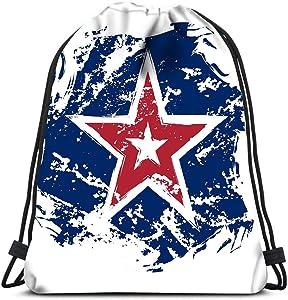 Drawstring Backpack American Flag Star Grunge Element Symbol Independence Day Celebration Patriotic Laundry Bag Gym Yoga Bag