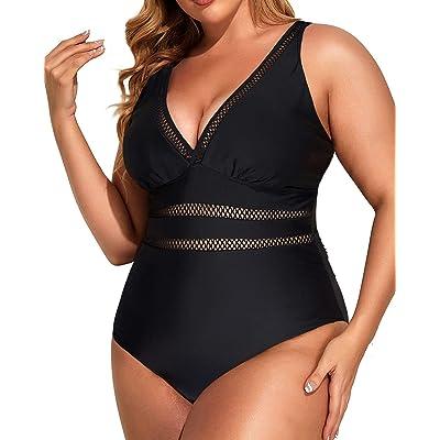 Daci Women Lace Plus Size One Piece Swimsuits V Neck Vintage Tummy Control Slimming Bathing Suit