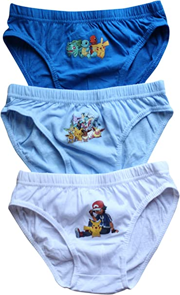 Red /& Blue Pokemon Boys Briefs Pants 3 Pack Official Pikachu Design in White