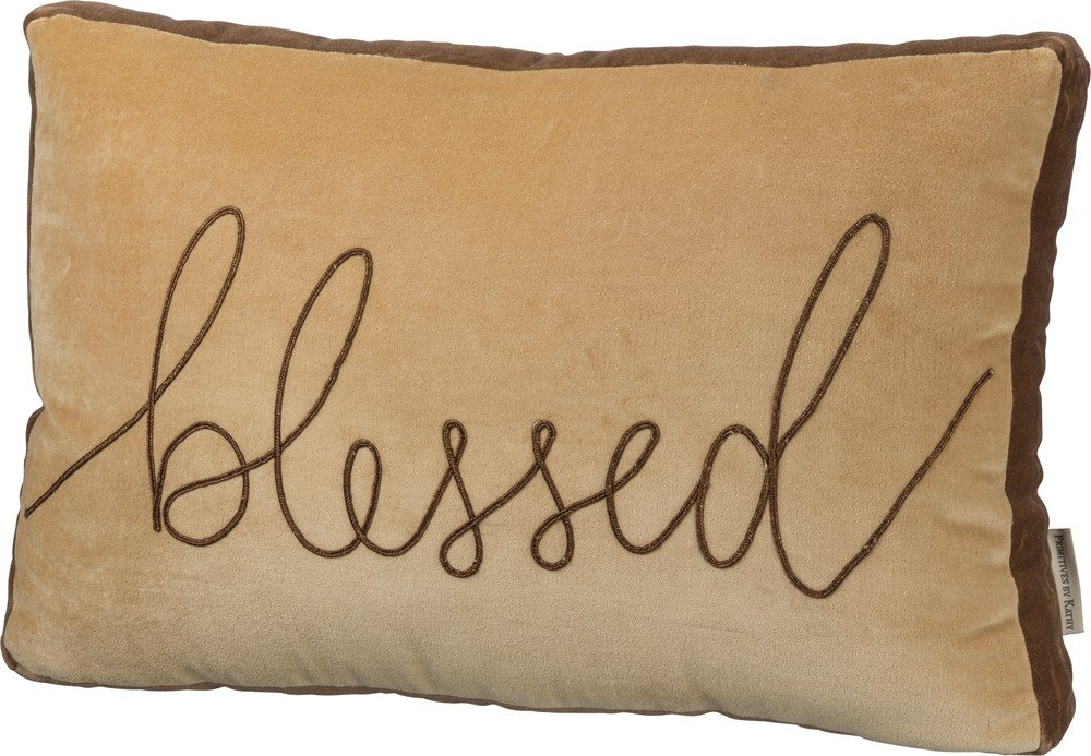Pillow ''Blessed'' Velvet Decorative Couch Christian Faith by Bird's Nest Gifts and Antiques