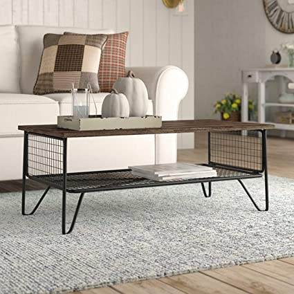 Amazon Com Industrial Style Coffee Table Metal And Wood Cocktail