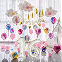 16th Birthday Decorations Sweet 16 Birthday Party Supplies 16 Number Balloons Set with Silver Curtain Backdrop Props