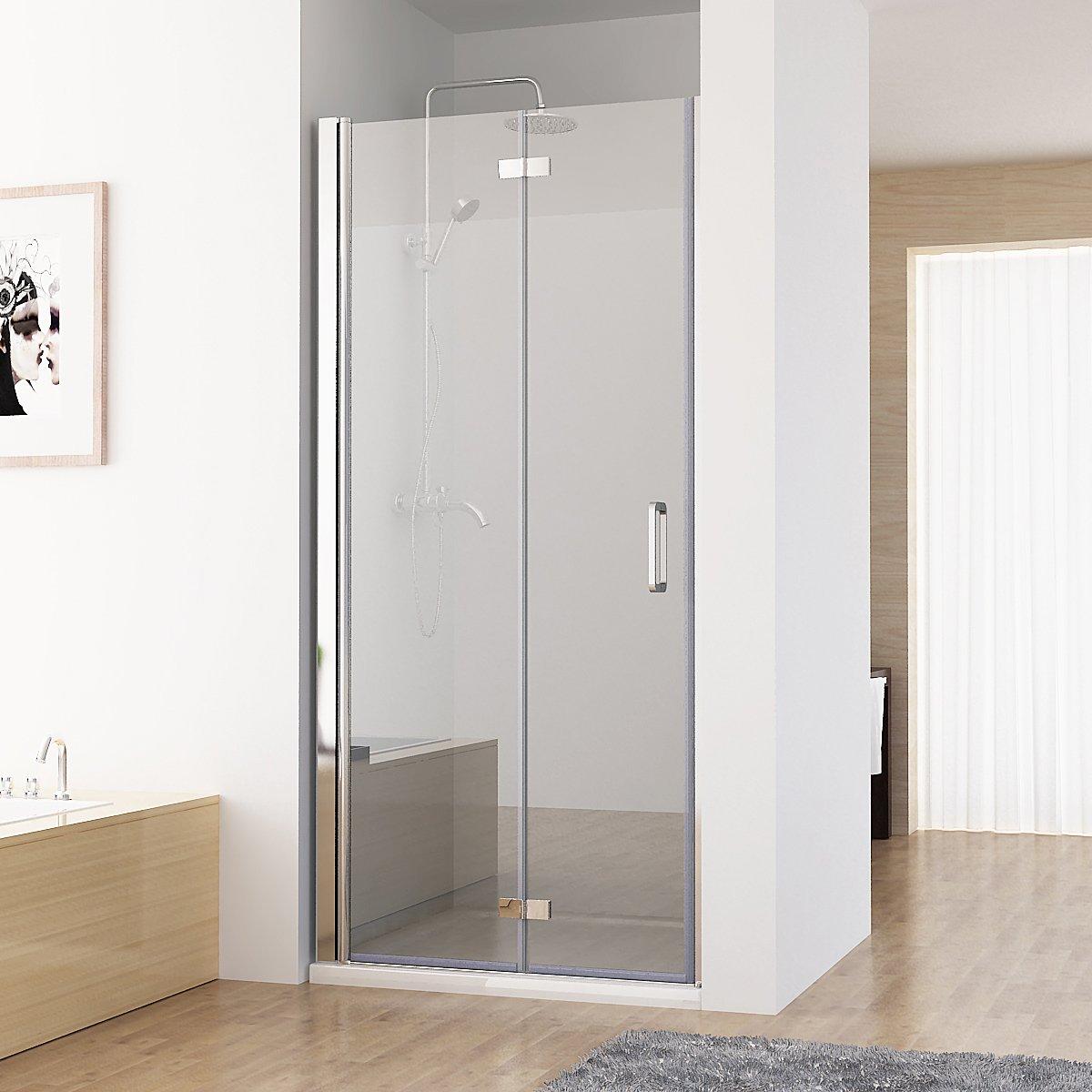 nischentr duschabtrennung 180 schwingtr falttr duschwand dusche nano echtglas 100 x 197 cm amazonde kche haushalt - Dusche Nischentur 85 Cm