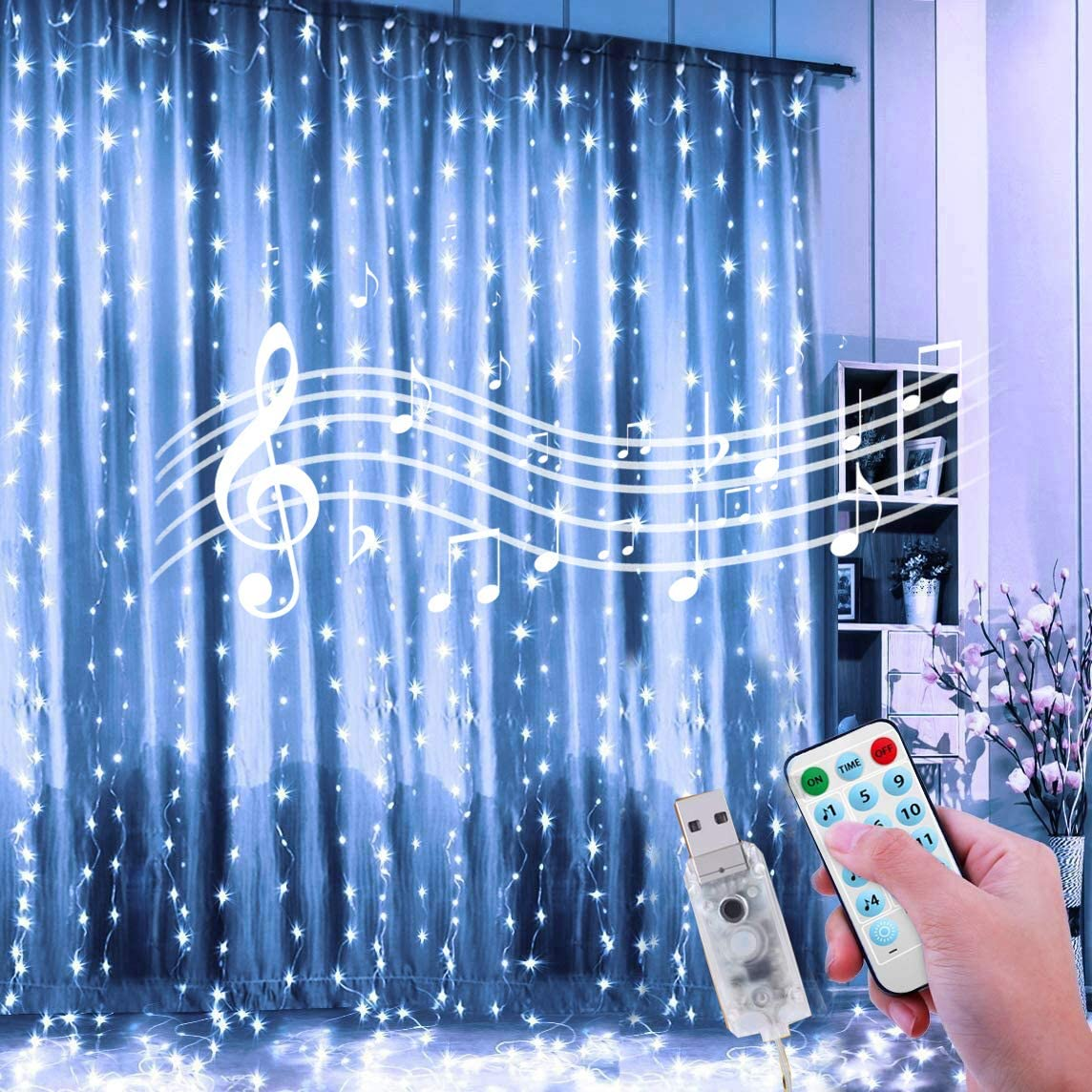 24HOCL Curtain String Lights, 12 Lightning Modes USB Powered Fairy Lights String with Sound Activated & Timer Function for Bedroom Wedding Party Youtuber Backdrop Outdoor Indoor Decor (Cold White)