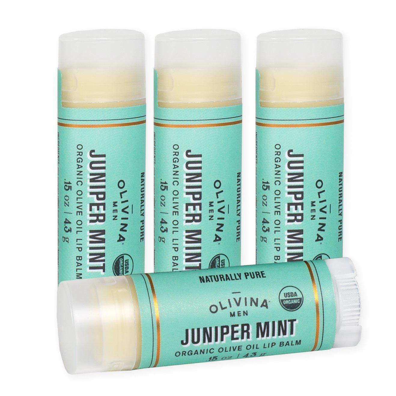 Juniper Mint 0.15 Ounce Moisturizing Olive Oil Lip Balm 4 Pack