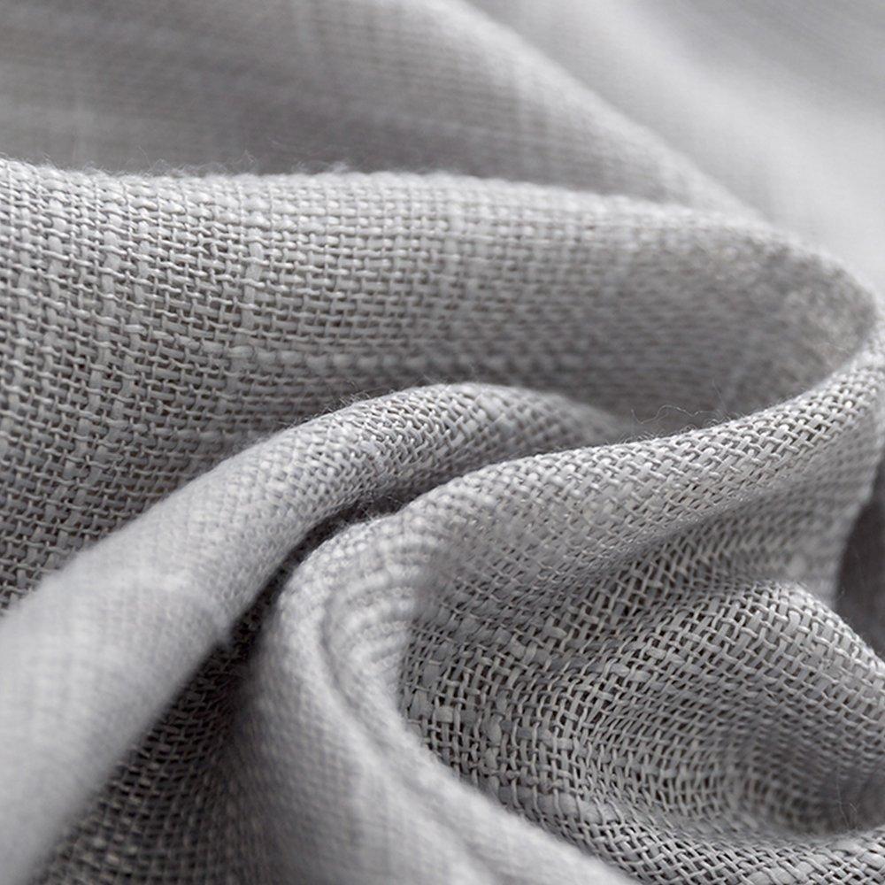 Linen Look Sheer Valance Bedroom 16 inch Length Valances Windows Rod Pocket Curtain Valance Grey Living Room, 1 Panel, Grey by jinchan (Image #2)