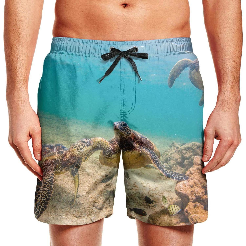 Man Hawaiian Sea Turtle Hawaii Adjustable Waistline Shorts Shorts Cool Swim Shorts