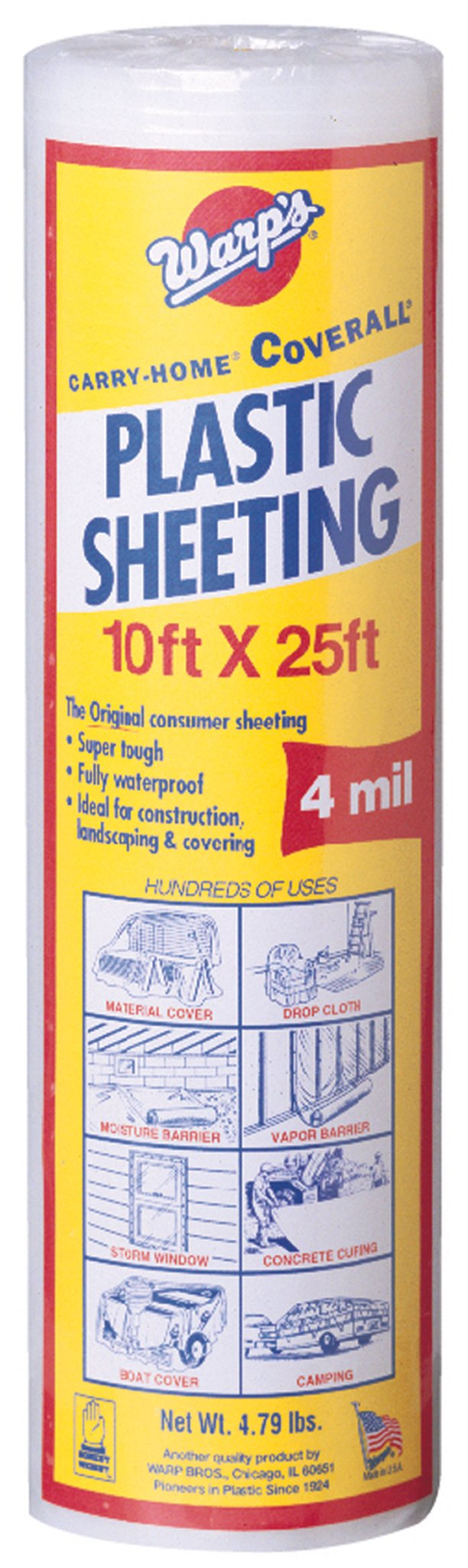 Warp Brothers SP-4CH10-C 4 Mil Carry Home Coverall Clear Plastic Sheeting, 10-Foot by 25-Foot