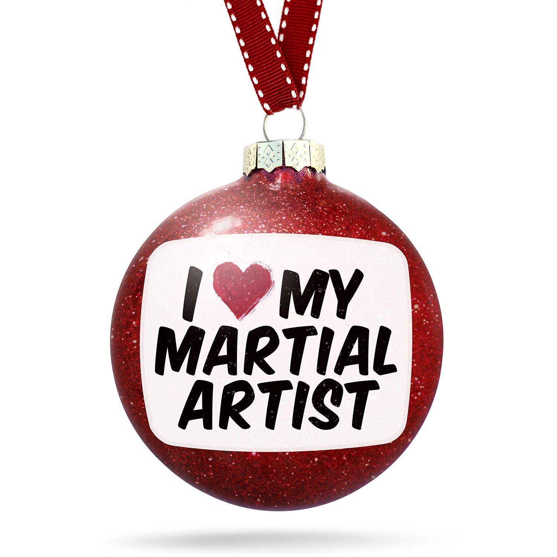 Christmas Decoration I heart love my Martial Artist Ornament