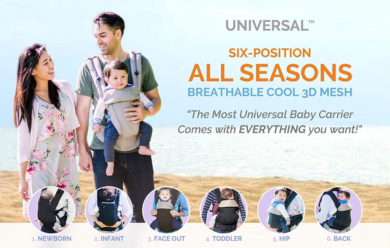 555df5fb4a1 Amazon.com   360 Ergonomic Baby Carrier - All Season Baby Sling - 6  Position