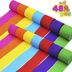 JOYIN 48 Rolls Crepe Paper Streamers in 7 Colors for Wedding Ceremony Various Large Festivals Decoration,Booth Backdrop, Festival & Event Decor
