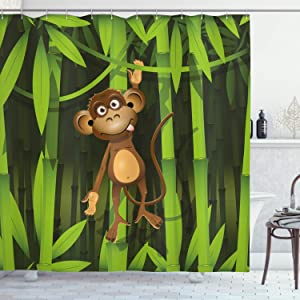 Ambesonne Jungle Shower Curtain, Wildlife Theme with Illustration of a Monkey in The Jungle Print, Cloth Fabric Bathroom Decor Set with Hooks, 75