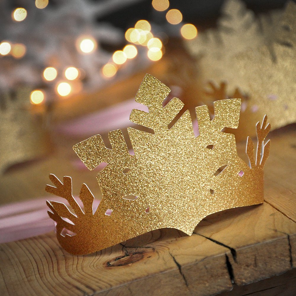 Pink and Gold Winter Wonderland Party Favor Crowns (set of 5). Pink and Gold Snowflake Crowns. Winter Onederland Decoration.