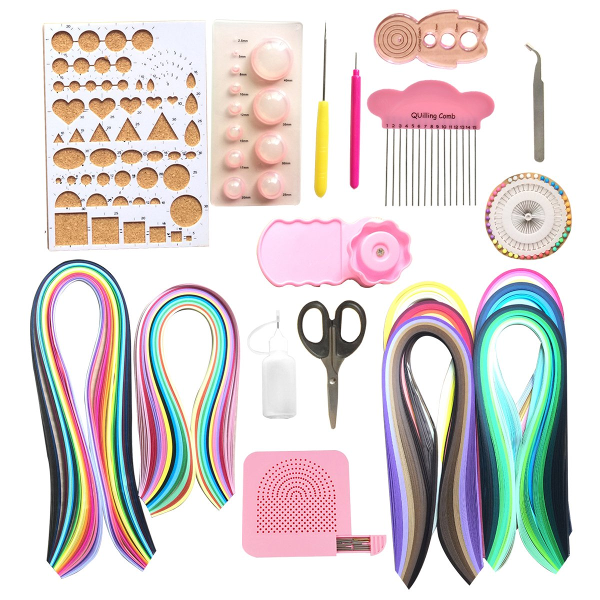 Lantee Quilling Supplies - 20 Sets of Quilling Paper Kits Include 8 Pack of 3mm 960 Quilling Paper Strips and 12 Quilling Tools by Lantee (Image #1)