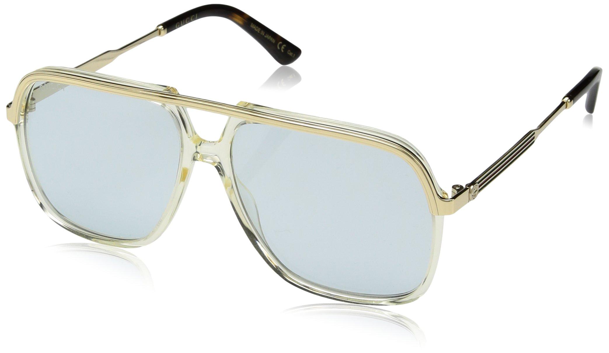 Gucci GG 0200 S- 005 YELLOW / LIGHT BLUE GOLD Sunglasses by Gucci