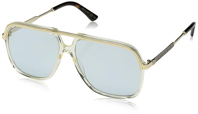 Gucci GG0200S 005, Gafas de Sol Unisex Adulto, Amarillo (5/Light-Bluee), 57: Amazon.es: Ropa y accesorios