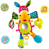 O-KIKI Baby Musical Stuffed Toy - Pull String Plush Donkey for Sensory Discovery, Play or Sleep (No Batteries Required!) with Crinkle Paper, Squeakers, Clackers, Teether & Mirror