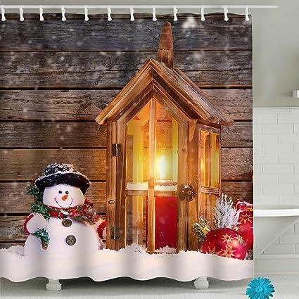 Amazon Merry Christmas Snowman Bathroom Shower Curtain Sets