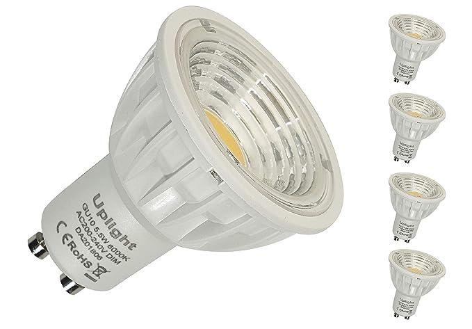 Regulable Gu10 Bombilla LED Equivalente 50-60W Halógenas Blanco Frío 6000K, RA90 550LM,Paquete de 5.