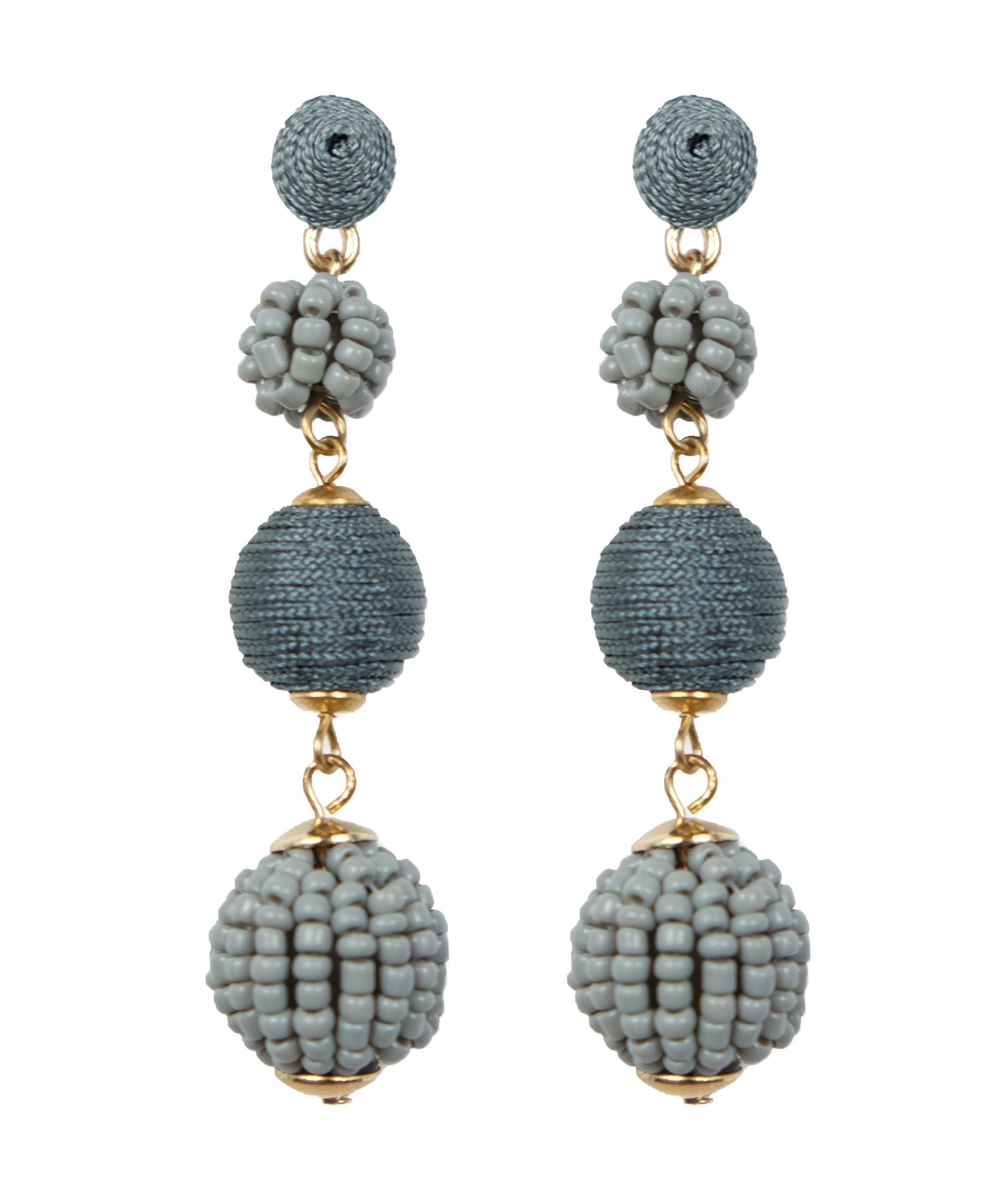 Bee Wee Jewelry Sydney Bead and Thread Ball Drop Earrings - Bon Bon Beaded Woven Silky Triple Thread Ball Seed Bead Dangle Bubble Boho Bohemian Ear Drop Soriee Statement Dangles (Gray)