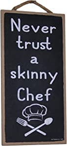 """Popfizzy Wood Sign Skinny Chef Hanging Wall Decoration Funny Kitchen Sign for Cooks Bakers 5x10"""""""