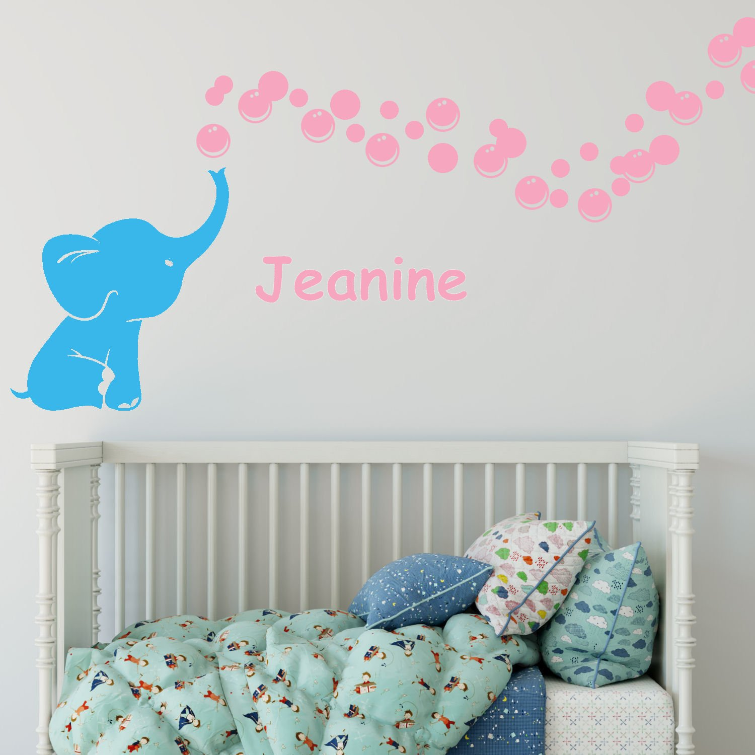Elephant Bubbles with Personalized Name Two Color Vinyl Nursery Room Wall Decal