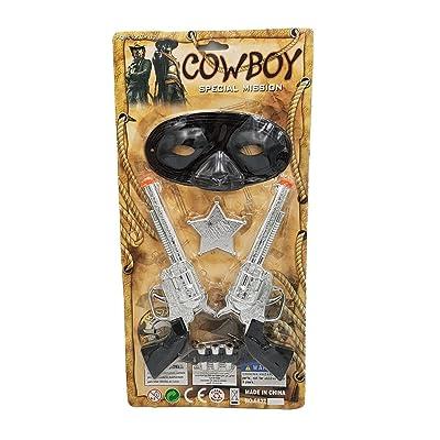 2Pistolets avec munitions étoile façade Cow Boy Shérif accessoires déguisement carnaval jouets bébé