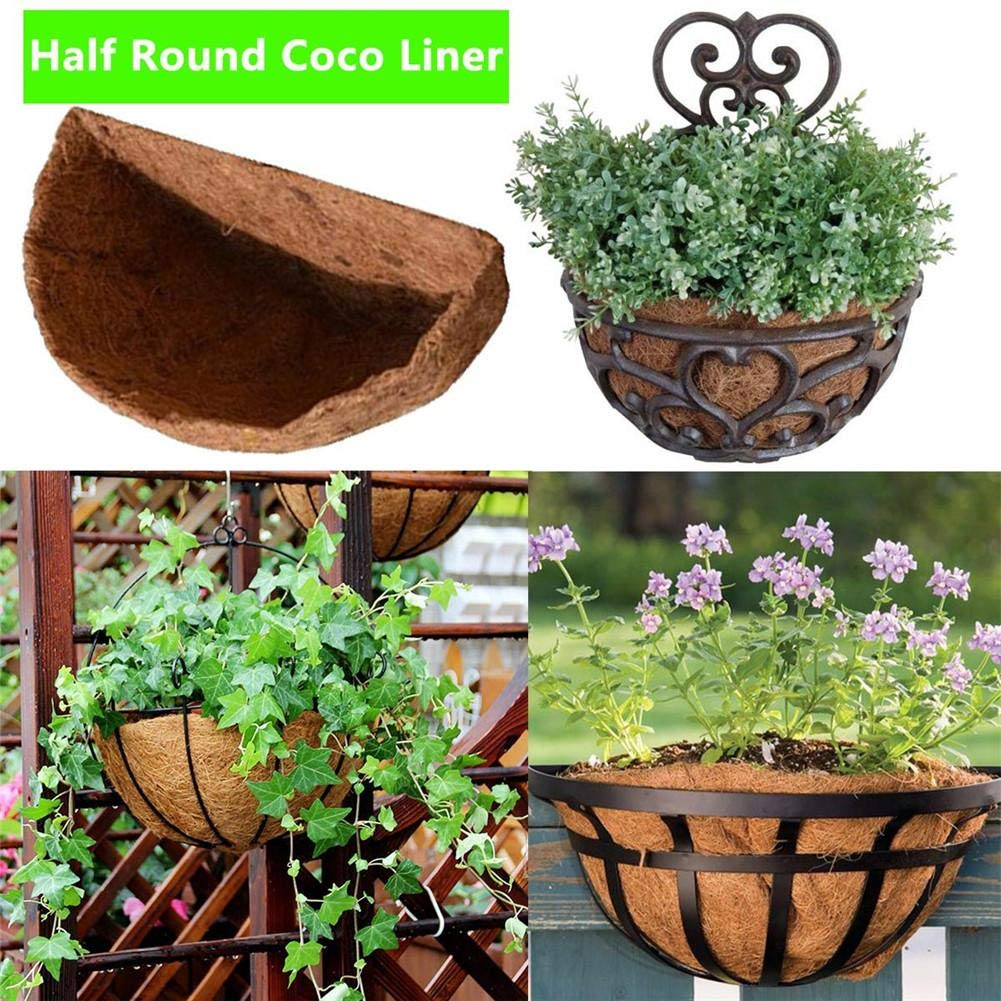 Favourall Revestimientos de Pared Co-Co Planter Liner Medio Redondo Coco Liner Revestimiento de Pared Coco Fiber Liner Recambio Liner