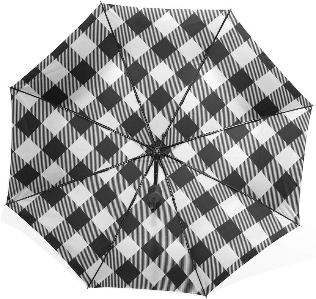 Inverted Umbrella Lumberjack Plaid Pattern Black White Seamless Portable Compact Folding Umbrella Anti Uv Protection Windproof Outdoor Travel Women Sun Umbrella For Women